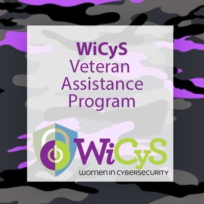 pink and grey camoflauge border surrounding the text, WiCyS (logo) Veteran Fellowship Award
