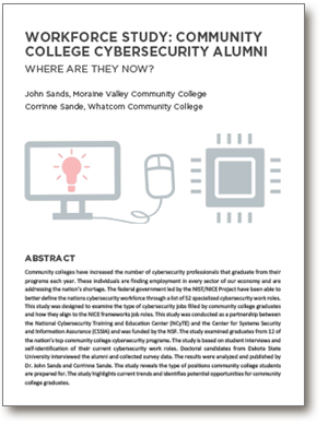 Cover of 2019 Workforce Study: Community College Cybersecurity Alumni, Where are they now?