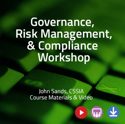 Green computer keyboard with the text, Governance, Risk Management, & Compliance Workshops