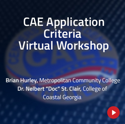 Blue tinted photograph of the CAE challenge coin with the text, CAE Application Criteria Virtual Workshop